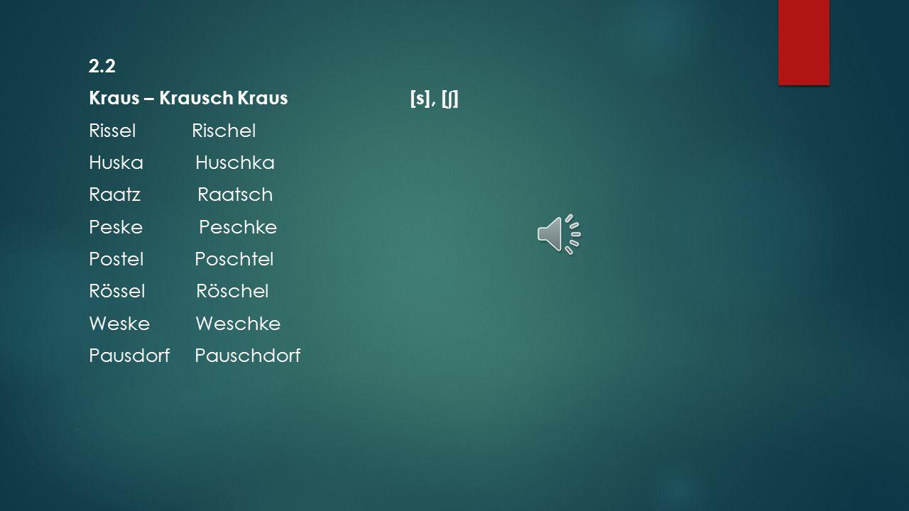 2.2 Kraus – Krausch Kraus [s], [ʃ] Rissel Rischel Huska Huschka Raatz Raatsch Peske Peschke Postel Poschtel Rössel Röschel Weske Weschke Pausdorf Pauschdorf